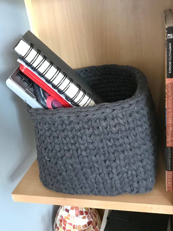 Crocheted storage box