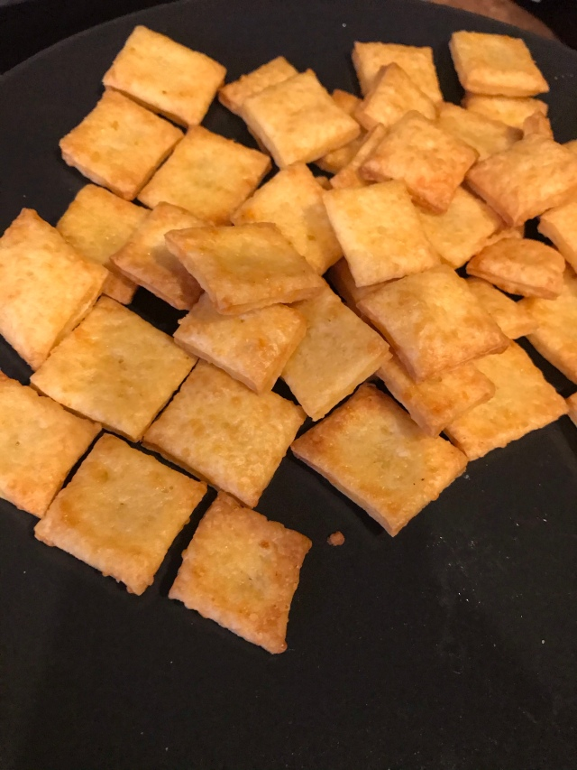 Homemade Cheezit crackers on plate